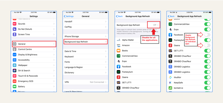 How to restrict background data on iOS